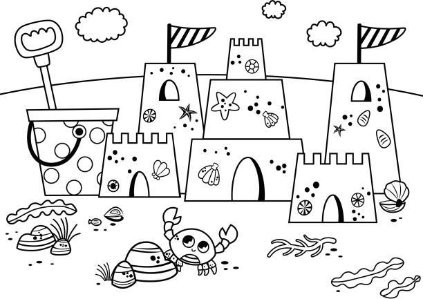 illustrations, cliparts, dessins animés et icônes de château de sable noir et blanc sur la plage. - chateau de sable
