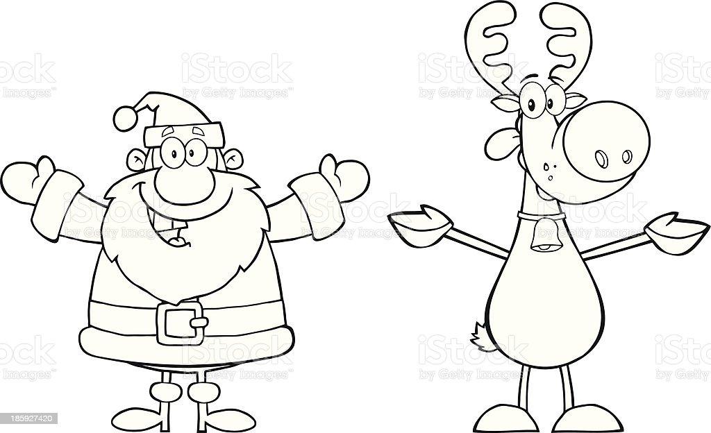 Noir Et Blanc Père Noël Et Renne Rudolph Vecteurs Libres De