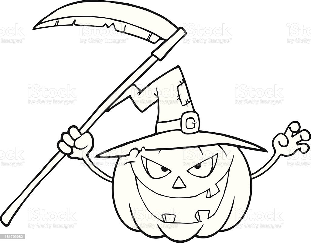 Black And White Scaring Halloween Pumpkin With A Witch Hat