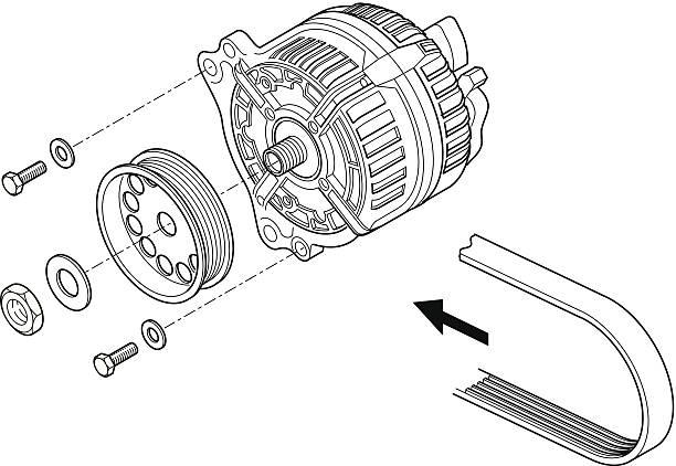 Black and white schematic of an alternator vector art illustration
