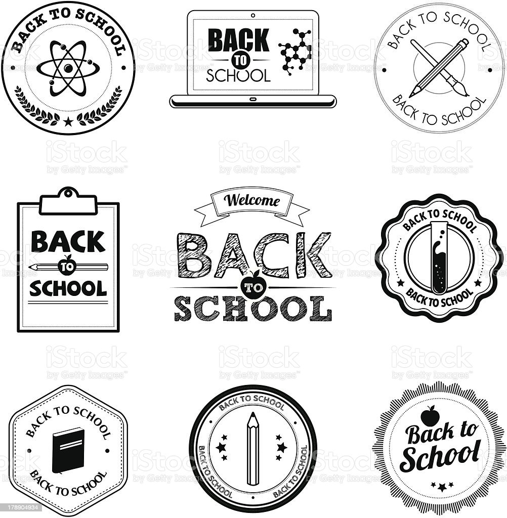 Black and white school badges royalty-free stock vector art