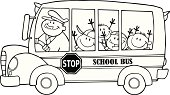 Black and White School Bus With Happy Children
