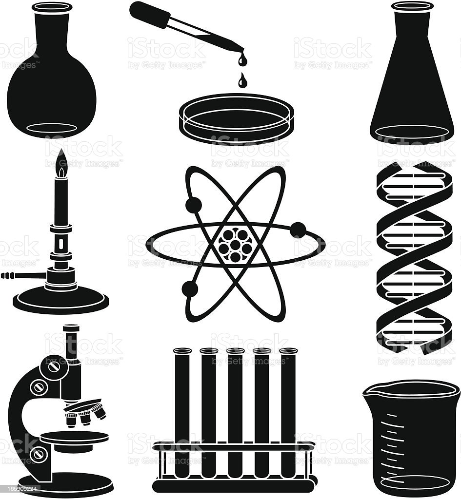 Black and white science related icons royalty-free stock vector art