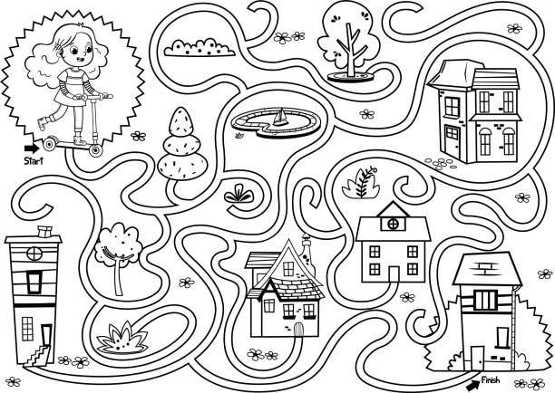 Black and white scooter girl maze game. Black and white scooter girl maze game. Vector illustration. activity stock illustrations