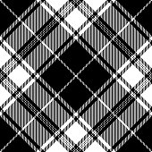 Black and white Scottish tartan plaid seamless diagonal textile pattern.