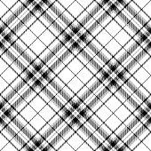 Black and white Scottish tartan plaid seamless diagonal textile pattern background.