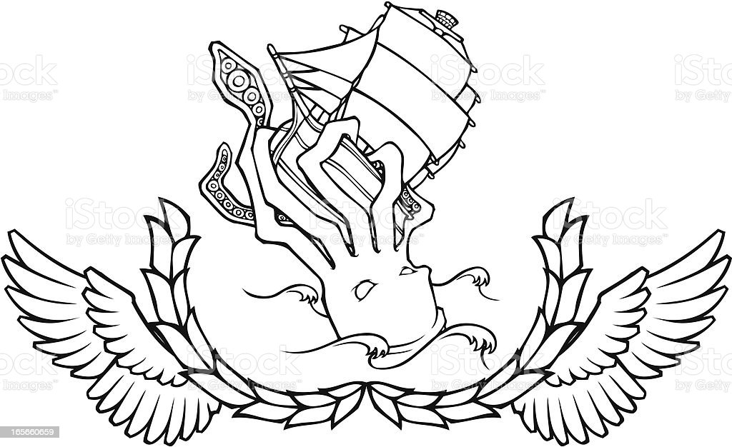 Black and White Sea Monster Crest royalty-free stock vector art