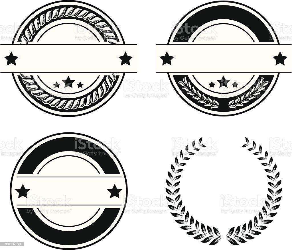 Black and white seal Design Elements - VECTOR royalty-free stock vector art