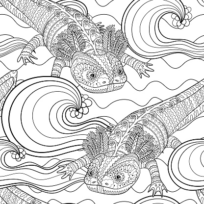 Black and white seamles oceanic pattern for coloring.