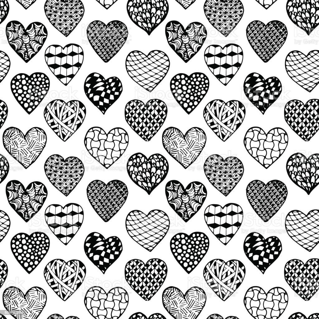 Siyah Ve Beyaz Sorunsuz Arka Plan Elle çizilmiş Kalpler Boyama