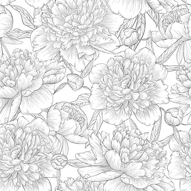 black and white seamless background. peonies with leaves and bud. beautiful monochrome black and white seamless background. peonies with leaves and bud. for greeting cards and invitations of wedding, birthday, Valentine's Day, mother's day and other seasonal holiday flowers tattoos stock illustrations