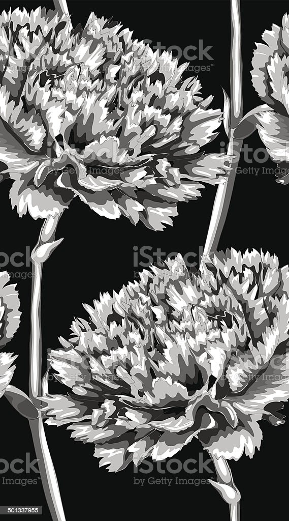 black and white seamless background with carnation.