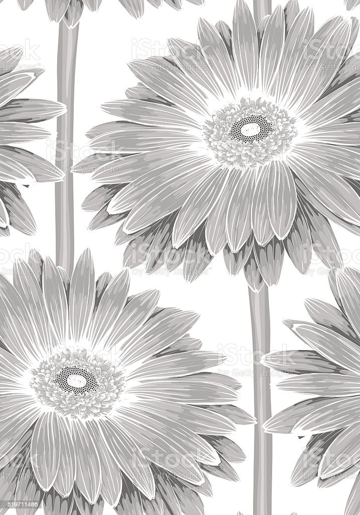 Black and white seamless background with gerbera flower with stem black and white seamless background with gerbera flower with stem royalty free black and mightylinksfo Choice Image