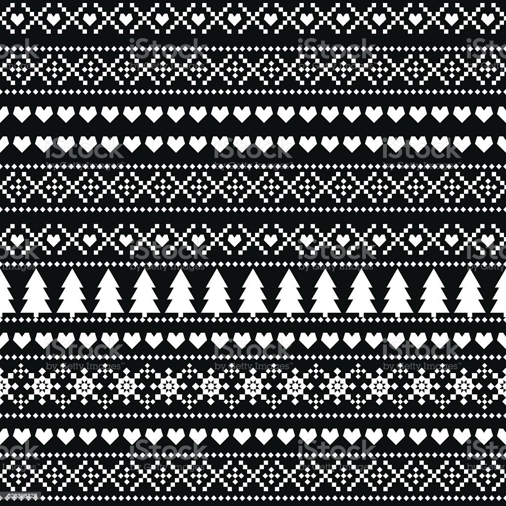 ab81357e5a8a Black and white seamless Christmas pattern - Scandinavian sweater style.  royalty-free black and