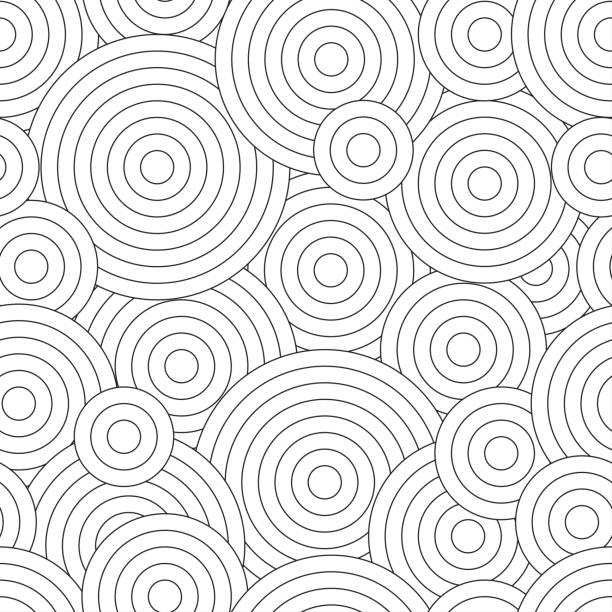 black and white seamless pattern for coloring book in doodle style. swirls, ringlets. - бесшовный узор stock illustrations
