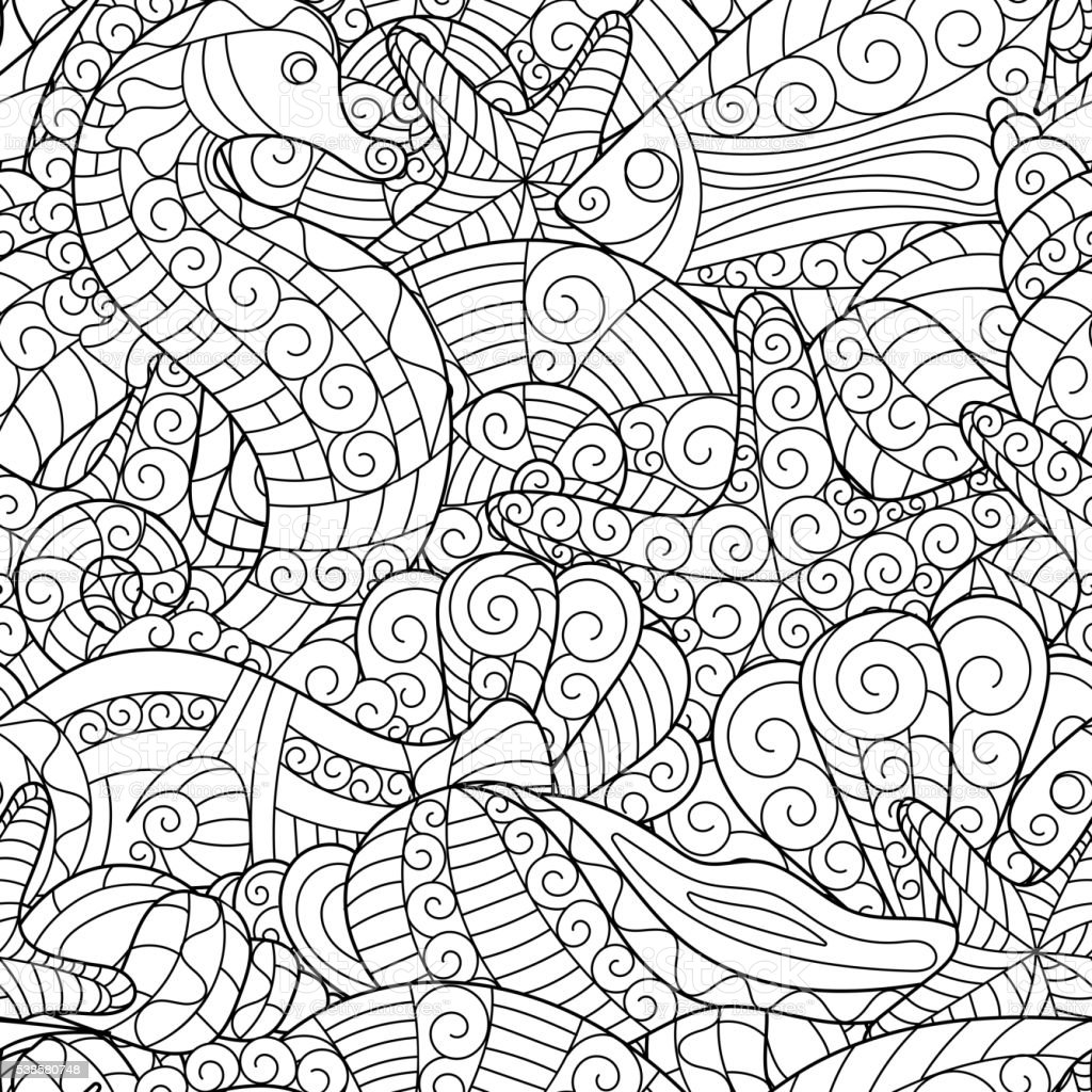Black And White Seamless Pattern For Coloring Book Sea ...  Black And White...