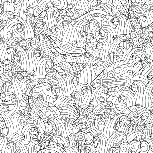 Black And White Seamless Pattern For Coloring Book Sea Life Vector Art Illustration