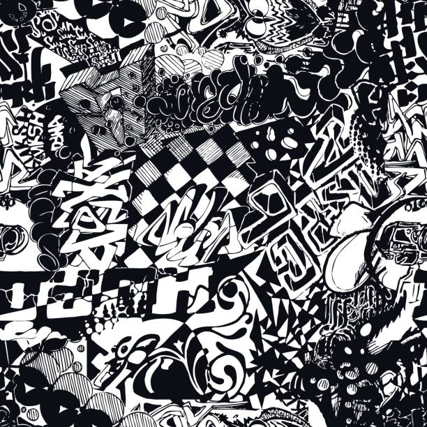schwarz / weiß musterdesign graffiti, aufkleber bombardierung. - graffiti schriftarten stock-grafiken, -clipart, -cartoons und -symbole