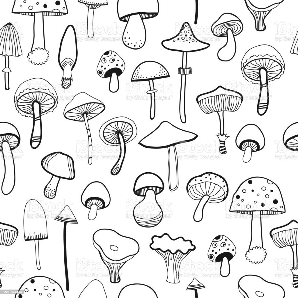 black and white seamless pattern mushrooms for coloring