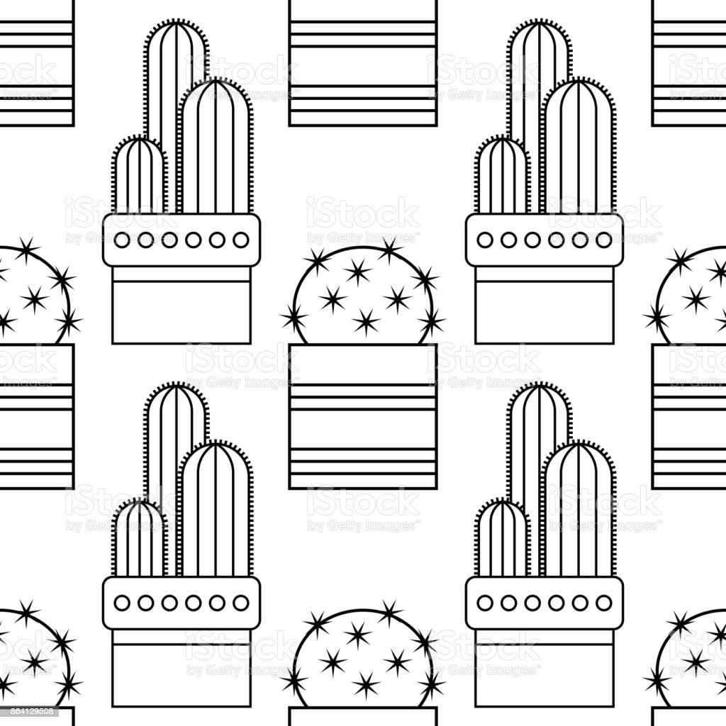 Black and white seamless pattern of cacti and succulents for coloring books, pages. royalty-free black and white seamless pattern of cacti and succulents for coloring books pages stock vector art & more images of abstract