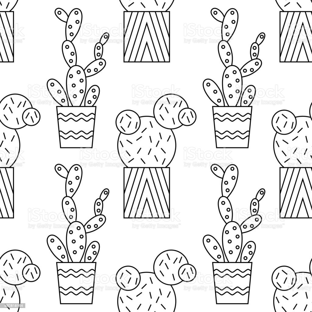 black and white seamless pattern of cacti and succulents