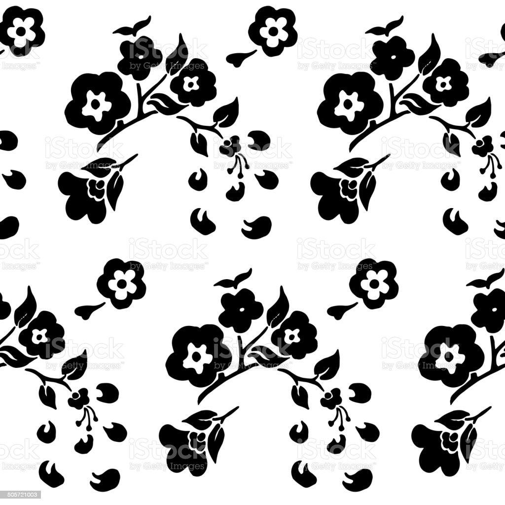 Blanco Y Negro Sin Costura Patrón De Flores De Cerezo - Arte ...