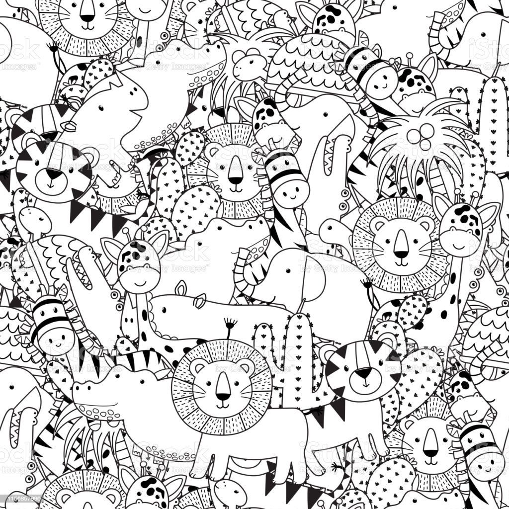 Ilustración De Patrón Sin Costuras En Blanco Y Negro Con