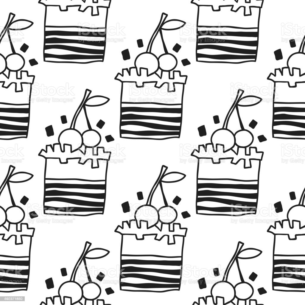 Black And White Seamless Pattern With Cakes For Coloring ...