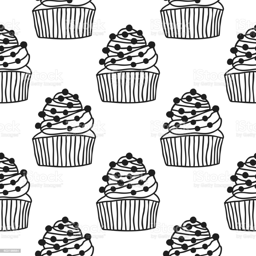 Black And White Seamless Pattern With Cakes For Coloring Books Lizenzfreies