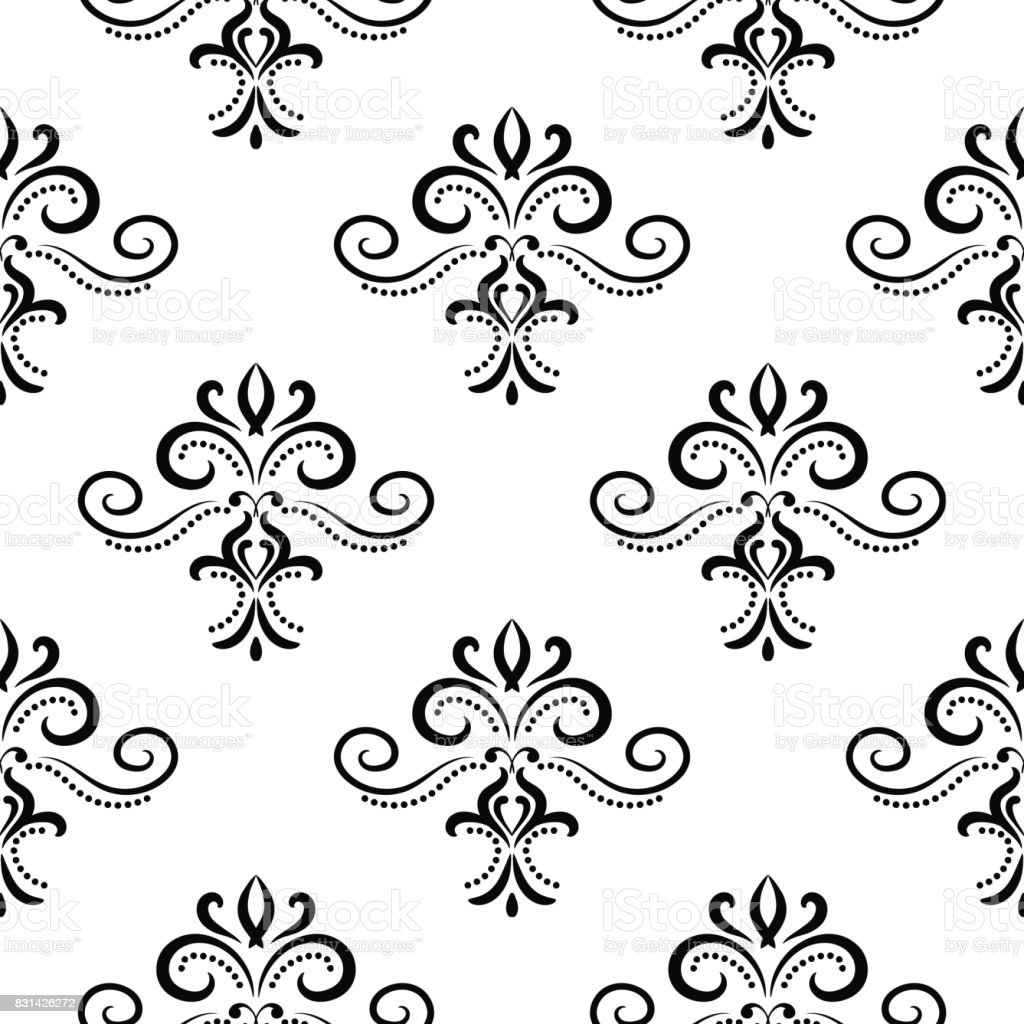 Black And White Seamless Pattern With Floral Print Stock Vector Art