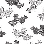 Monochrome Christmas vector background with holly.  Christmas doodle background.