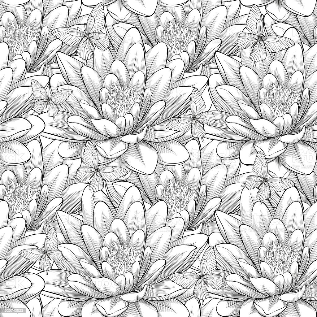 Black And White Seamless Pattern With Lotus Flowers Stock Vector Art
