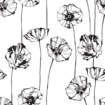 Floral monochrome  background. Vector illustration.  Vector illustration.