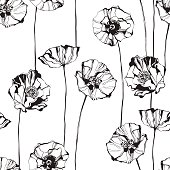 Black and white seamless pattern with poppies. Hand-drawn floral background.