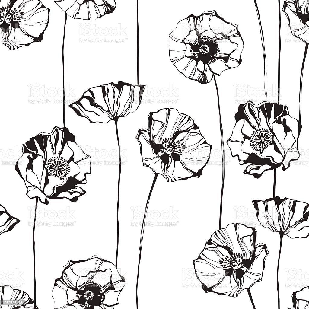Blanco y negro Patrón continuo con poppies. Fondo flores dibujados a mano. - ilustración de arte vectorial