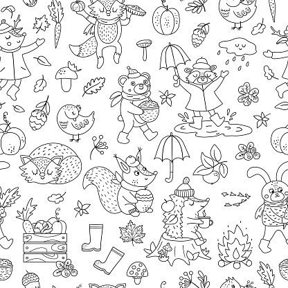 Black and white seamless pattern with vector autumn characters. Cute woodland animals line repeat background. Fall season coloring page.  Funny forest print with hedgehog, fox, bird, deer, rabbit