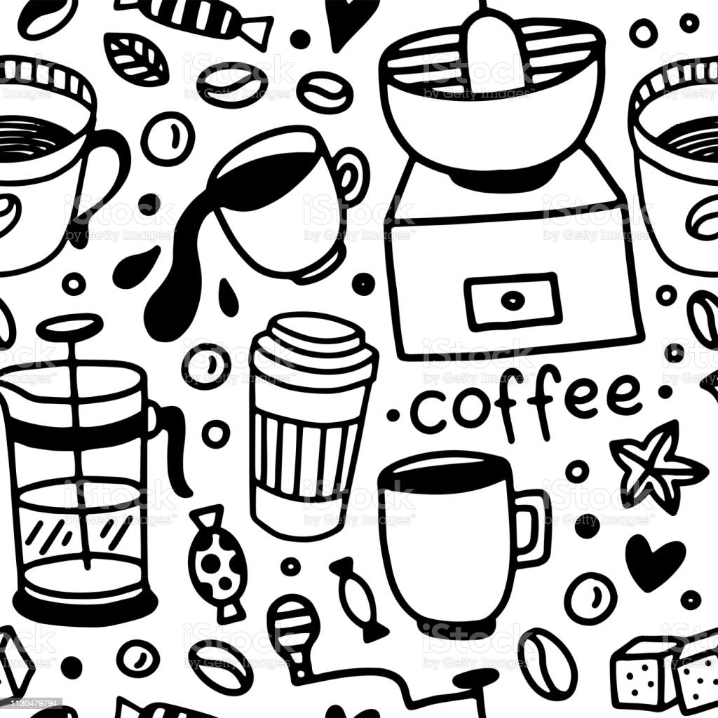 Black and white seamless vector coffee pattern. Food and drink hand...