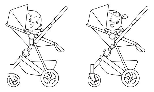 Black And White, Security stroller with baby child inside