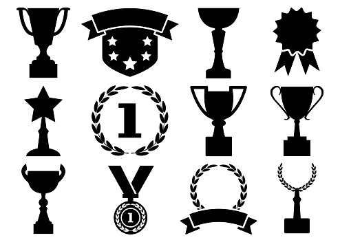 Black and white set awards and cups, vector illustration