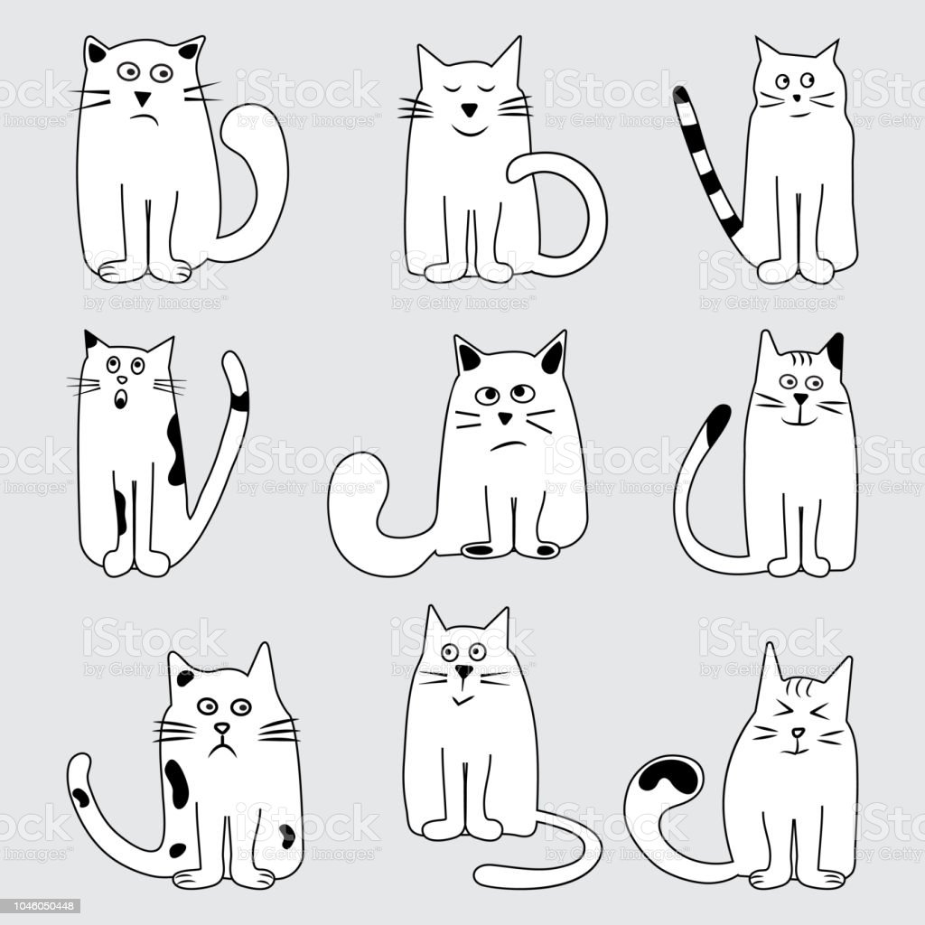 Black And White Set Cartoon Cats Wits Different Emotions Hand Drawn