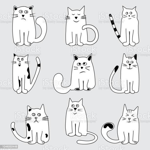 Black and white set cartoon cats wits different emotions hand drawn vector id1046050448?b=1&k=6&m=1046050448&s=612x612&h=xkh3wo95 9zleduildydsfcurk6uk1rbtkuczathtbo=
