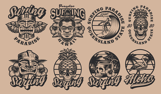 Black and white set Hawaii surfing illustrations