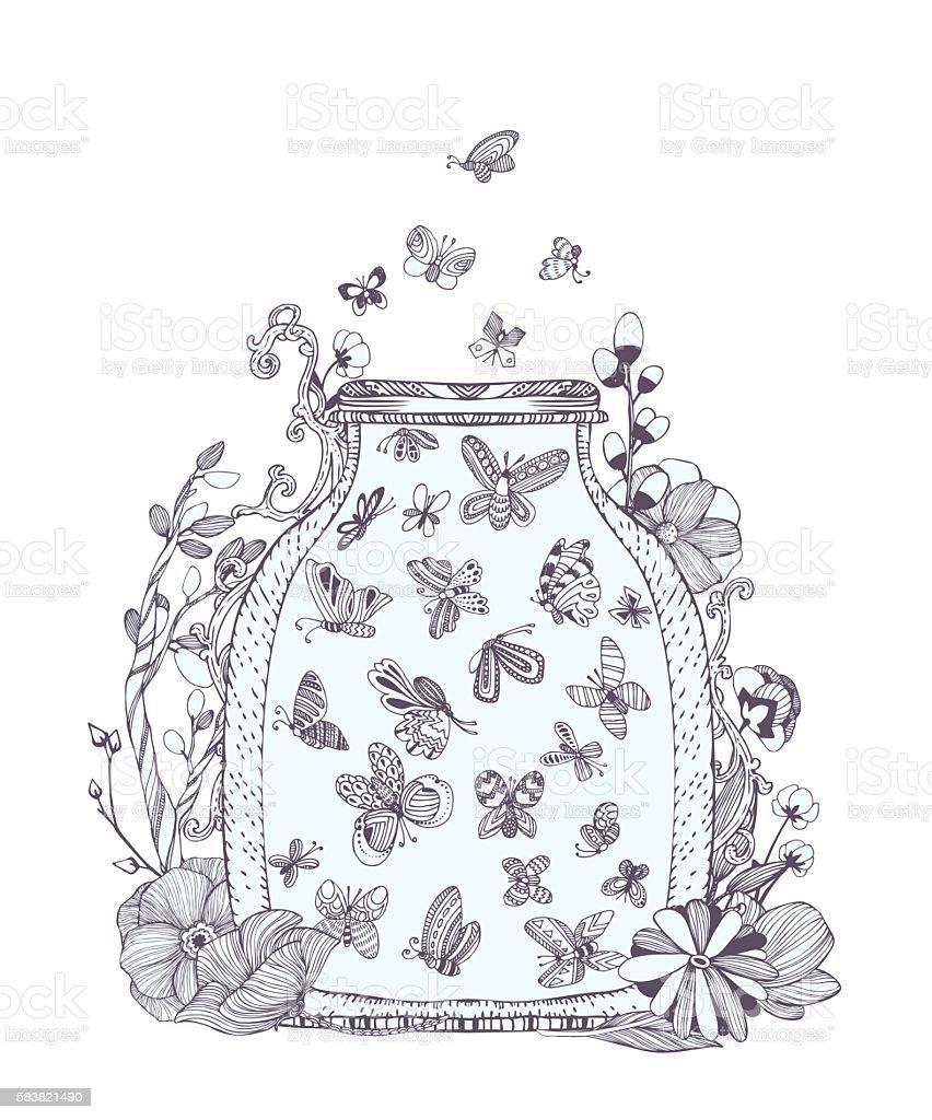 Black And White Set Of Cute Butterflies In Bug Stok Vektör Sanatı