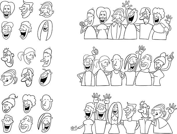 black and white set of funny people vector art illustration