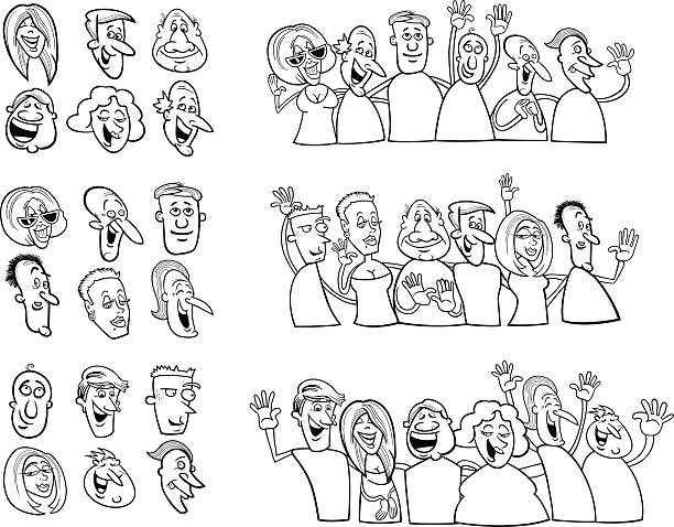 black and white set of happy people vector art illustration