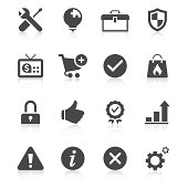 Black and white set of Internet communications icons