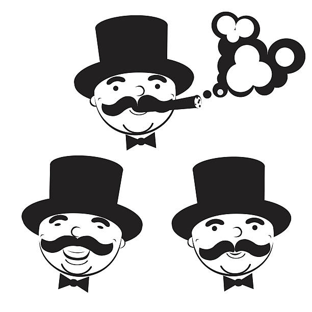 black and white set of  men in top hats - old man smoking cigar stock illustrations, clip art, cartoons, & icons