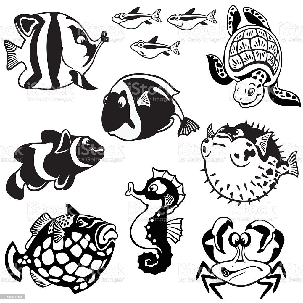 black and white set with cartoon fishes vector art illustration
