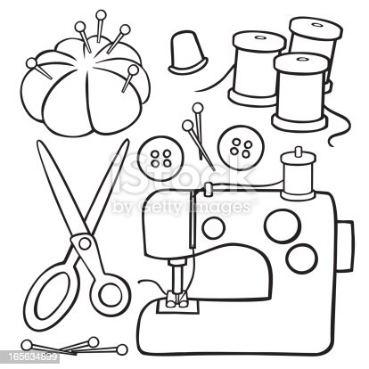 Black And White Sewing Items Stock Vector Art & More