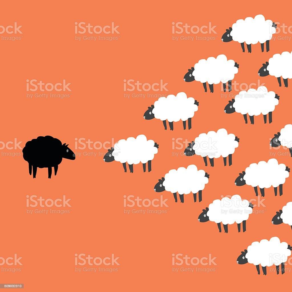 Mouton noir et blanc - Illustration vectorielle